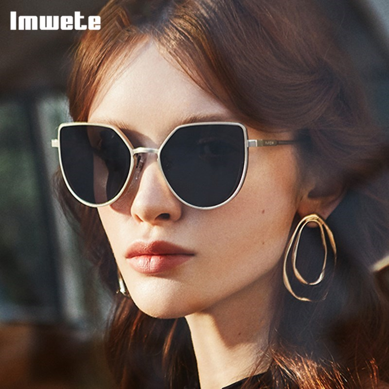 Imwete 2020 Polygonal Sunglasses For Women Men Classic Brand Lady Sexy Sun Glasses Vintage Alloy Frame Mirror UV400