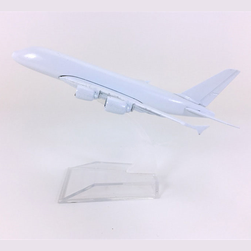 1:400 Scale Airplanes Airbus A380 Airplane Model Metal White Body Blank Unpainted Collectible DIY Decoration image
