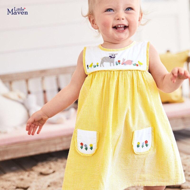 Little Maven Dress Animal Appliques Kids Dresses For Girls Costume Baby Kids Pocket Dress Cotton Sheep Embroidery Child Dress