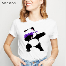 funny panda/cat Dabbing printed tshirt women plus size vogue white t shirt femme harajuku kawaii clothes female t-shirt