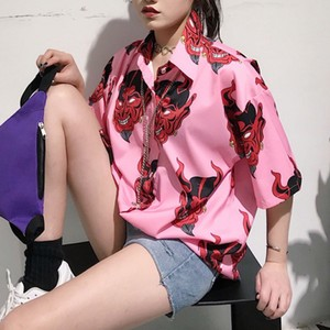 Harajuku Demon Print Summer Women Blouse Punk Gothic Casual Loose Short Sleeve Shirt Tops Female 2XL #B