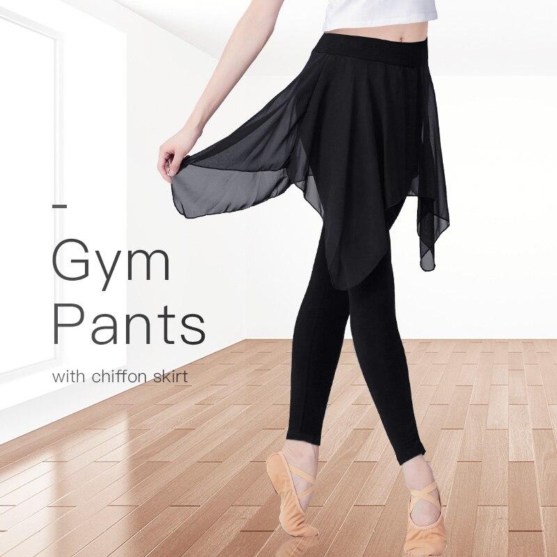 Women Pants Training Sport Yoga Pants Leggings Female Dance Trousers Girls Sweat Pants With Chiffon Skirt