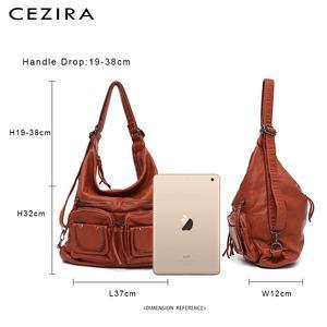 Image 5 - CEZIRA большой мягкий Повседневный женский рюкзак, функциональный школьный рюкзак для девочек, сумка из искусственной кожи, Дамский мессенджер с несколькими карманами и сумка через плечо