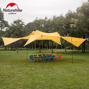 Image 5 - Naturehike שדרוג 10 אדם גדול קמפינג אוהל חיצוני 40D סיליקון ניילון כפול מגדל שמשיה חוף מקלט שמש אוהל
