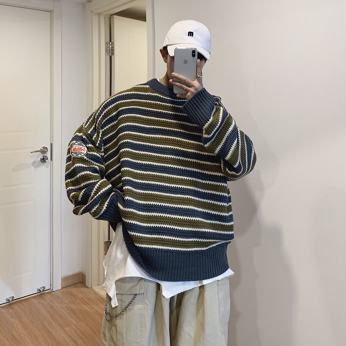 2019 Winter Men's Thickening Clothes Coats Tide Stripe Printing Woolen Sweaters Casual Male Cashmere Pullover Loose Knitting