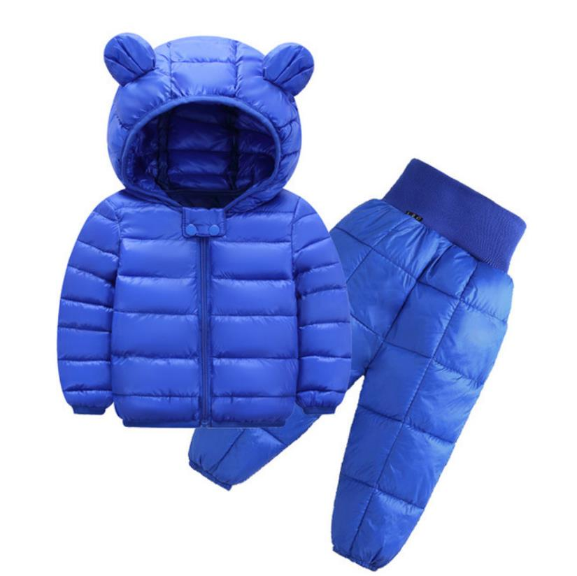 2021 New Children's Clothes Sets Winter Girls and Boys Hooded Down Jackets Coat-Pant Overalls Suit for Warm Kids Clothin 4