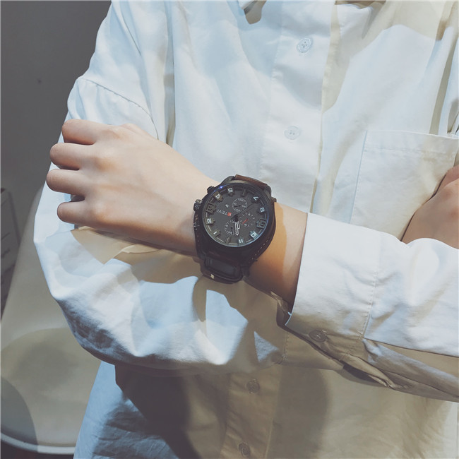 2020 NEW Luxury Brand Leather Police Men Sport Watches Mens Quartz Clock Man Army Military Leather Wrist Watch Relogio Masculino