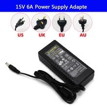 цена на LED strip light Power Supply Adapter AC 100-240V to DC 15V 6A Charger Transformer 220V 15V 90W Converter with power cord Driver