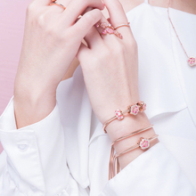 цены 925 sterling silver charms bracelets for women Chinese style Peach blossom rose gold serie silver snake chain Original bracelet