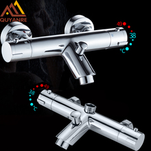 цена на Quyanre Thermostatic Shower Faucets Set Bathroom Thermostatic Mixer Tap Hot And Cold Bathroom Mixer Mixing Valve Bathtub Faucet