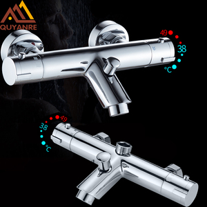 Quyanre Thermostatic Shower Faucets Set Bathroom Thermostatic Mixer Tap Hot And Cold Bathroom Mixer Mixing Valve Bathtub Faucet(China)