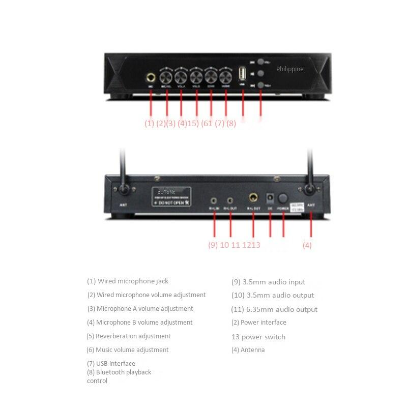 K6 UHF Wireless Handheld Mikrofon mit Wiederaufladbare Dynamisches Mikrofon für Home Theater System Lautsprecher Bluetooth Microfon - 3