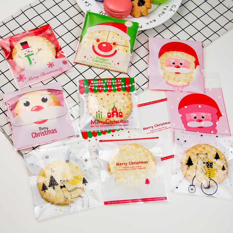 25Pcs Cute Christmas Cookie Gifts Bags Cartoon Biscuits Packaging Self-adhesive Candy Plastic Bags Cake Food Package Bag