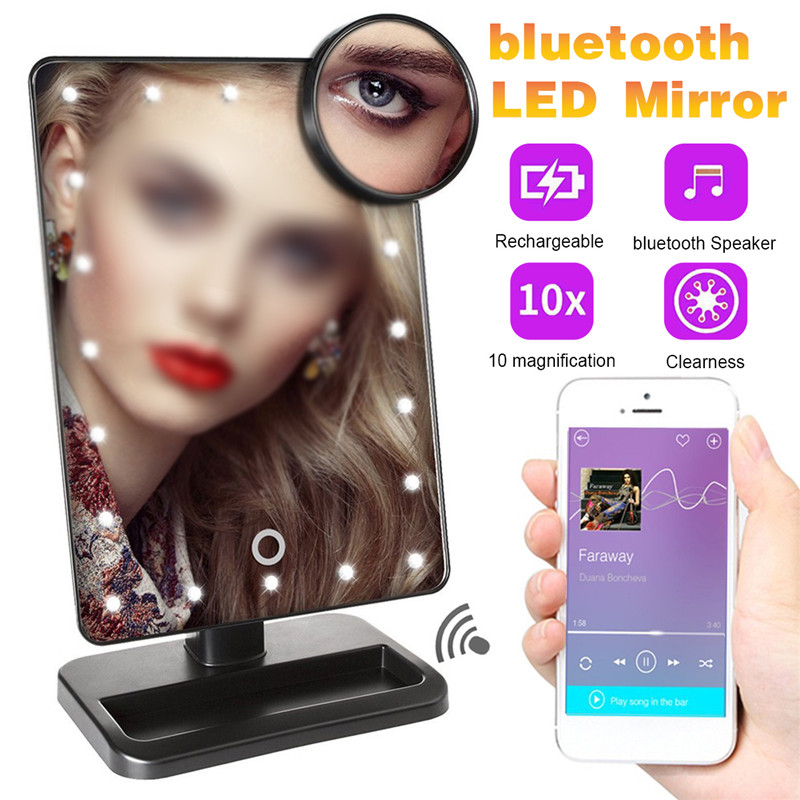 LED 20 Light Touch Screen Makeup Mirror Table Desktop Makeup 10X Magnifying Mirrors Vanity bluetooth 360 DEGREE Rotate Mirror
