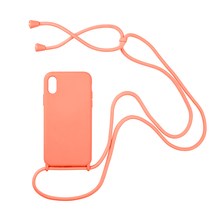 Crossbody Silicone phone case for iphone 11 pro X XR Xs Max 6s 7 8 plus  Soft color back cover with neck strap Coque fundas