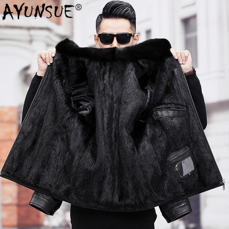 AYUNSUE Men's Real Mink Fur Coat Winter Genuine Leather Jacket Men Goatskin Leather Warm Mens Mink Coats A19-17857 KJ3814