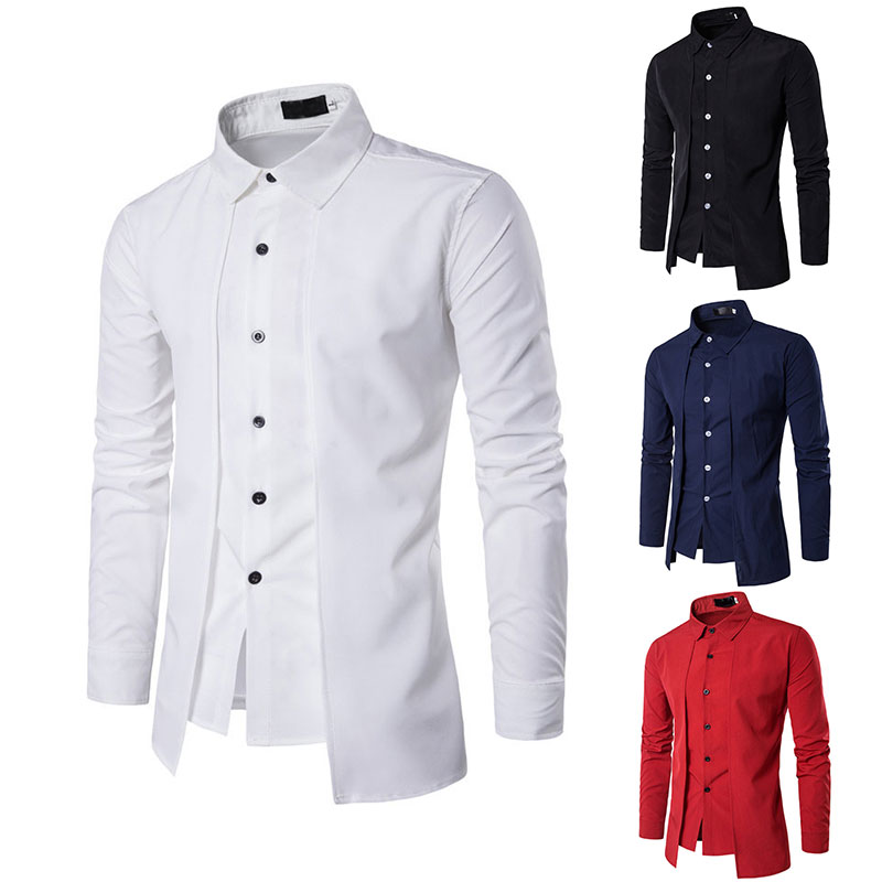 2020 Men Spring Autumn Long Sleeve Button Down Slit Fit Formal Business Dress Shirt White Black Red Blue