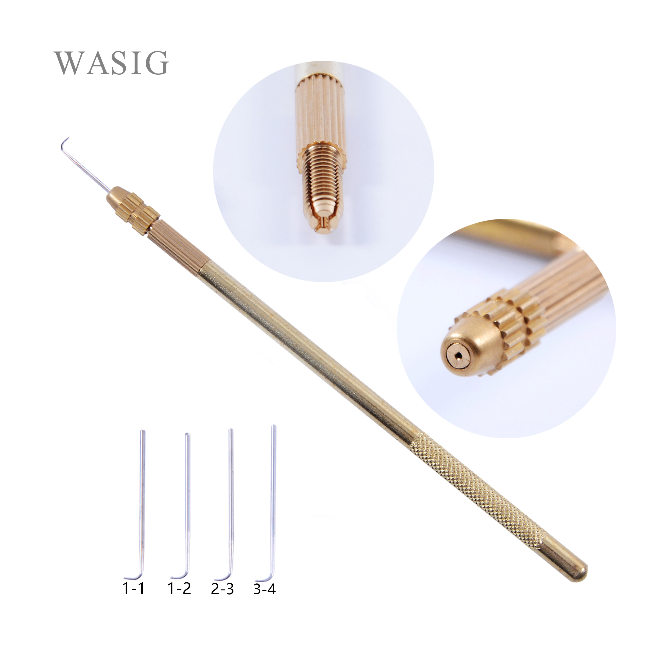 Hot Selling Hair Extension Tools 1 Set Professional Bronze Ventilating Holder And Ventilating Needles For Lace Wigs (1Pcs+4Pcs)