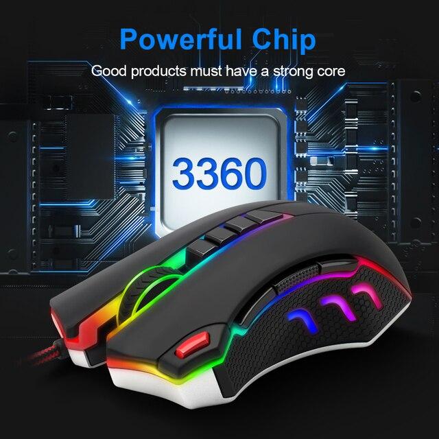 Redragon TITANOBOA2 CHROMA M802 USB souris dordinateur de jeu filaire 24000DPI 10 boutons souris rvb Programmable ergonomique PC Gamer