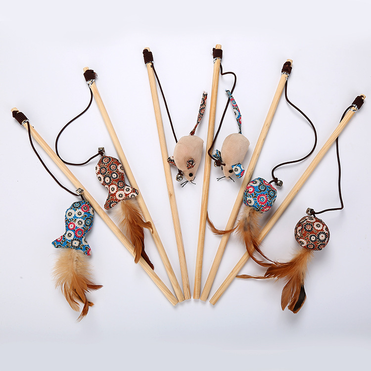 Handmade Wood Cat Teaser Wooden Rod with Bell Sound Funny Cat Teaser Hairband Cat Toy Floral-Print Plush Series