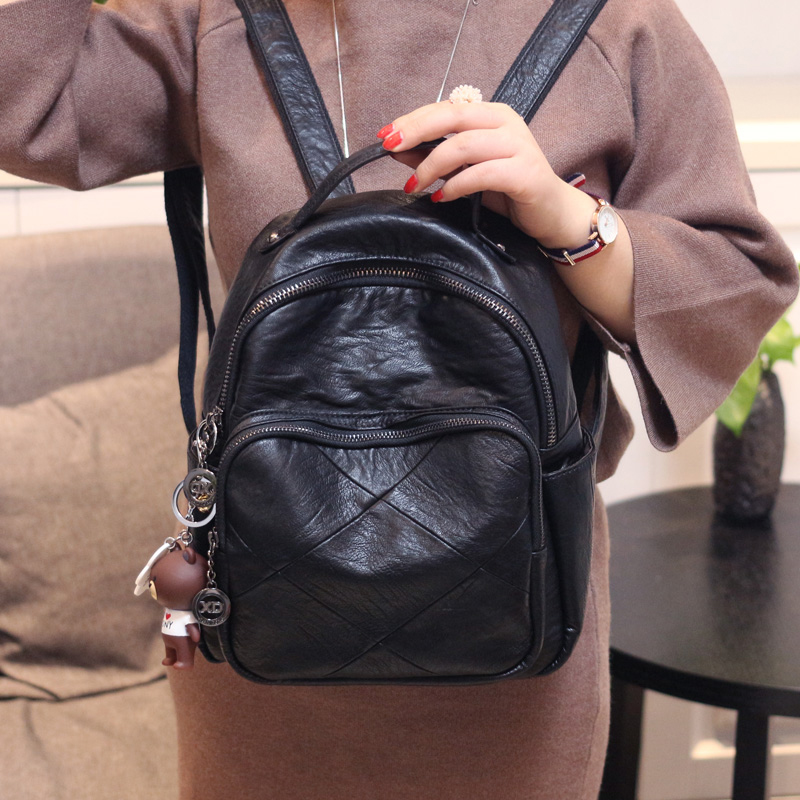 2020 New Soft Pu Leather Backpack Women Black Small Leisure Lightweight Back Pack Female Bagpack For Teenagers Girls