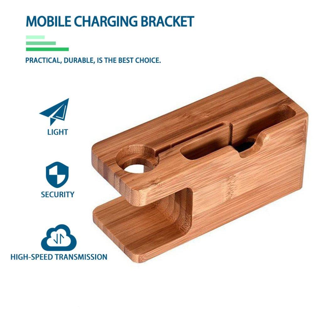 2 в 1 Настольный держатель для сотового телефона из бамбукового дерева, универсальная настольная подставка для телефона, настольный держате...