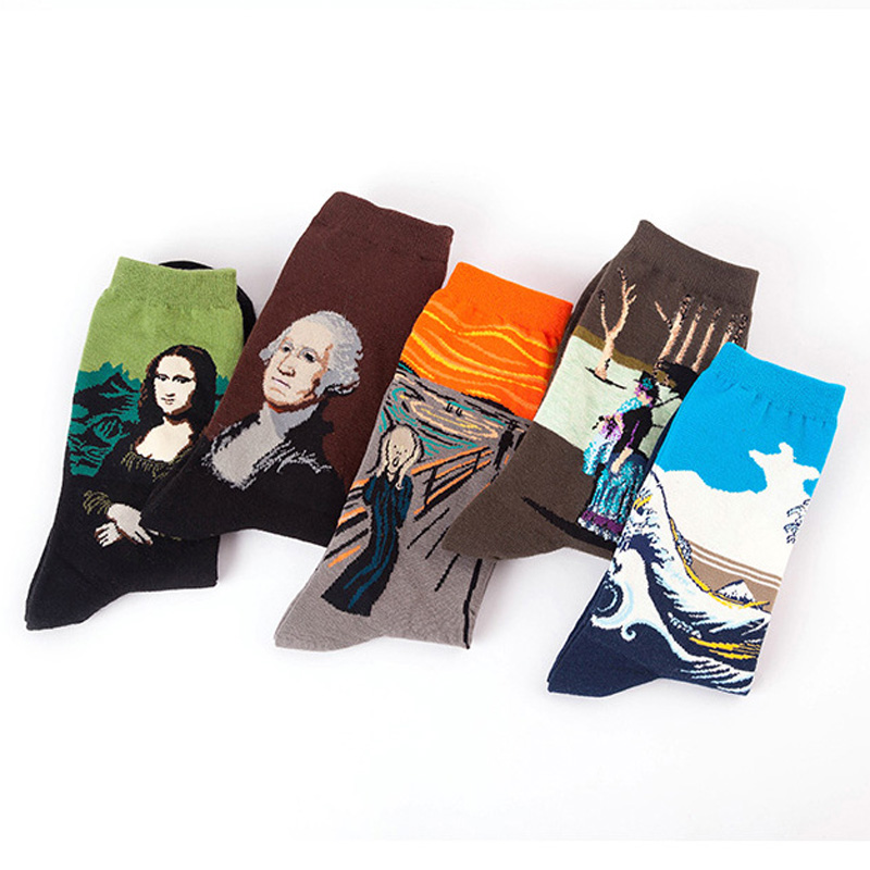 TERMEZY Women's Socks Autumn Winter Retro Cotton Printing New Art Van Gogh Mural World Famous Oil Painting Series Female Socks