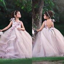 Г. Очаровательные платья с цветочным узором для девочек; Длинные Пышные Платья без рукавов ручной работы, украшенные цветами и бусинами для маленьких девочек на день рождения