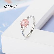 NEHZY-Anillo de Plata de Ley 925 para mujer, joyería de moda, Ágata rosa de cristal de alta calidad, bola giratoria, anillo de tamaño ajustable abierto