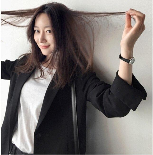 Large Size Vintage Ladies Blazer Simple Black Casual Suit Jacket Long Sleeve  Stylish Office Women Spring Autumn Jacket MM60NXZ