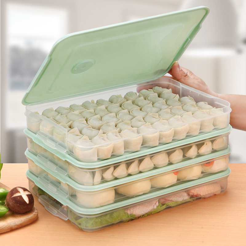 Refrigerator Food Storage Box Kitchen Accessories Organizer Fresh Box Dumplings Vegetable Egg Holder Stackable Microwave