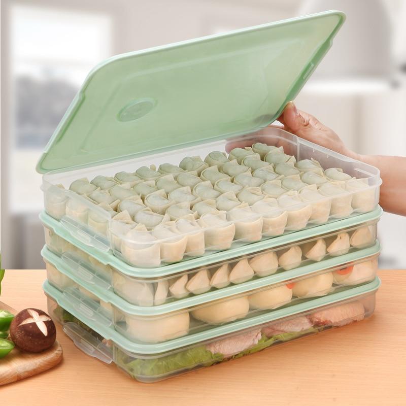 Refrigerator Food Storage Box Kitchen Accessories Organizer Fresh Box Dumplings Vegetable Egg Holder Stackable Microwave