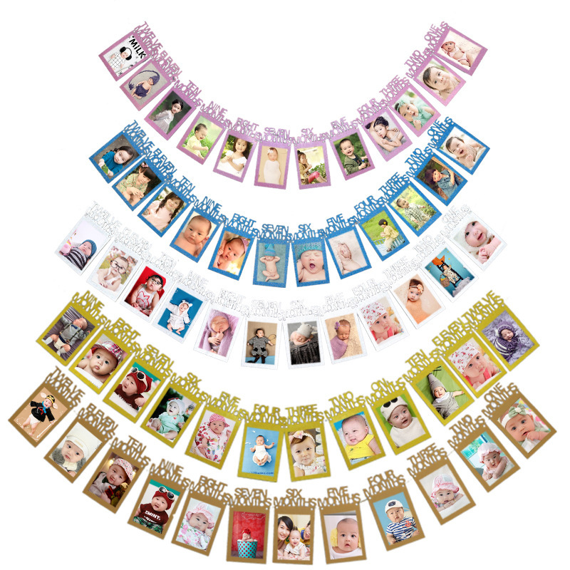 Baby Birthday Party Photo Wall Decoration   Baby Pull Flag Party Supplies  DIY Photo Banner Party Supplies