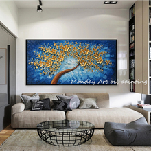 Large Hand Painted Blue lucky tree canvas painting 3D Flower Knife Pictures Flowers Oil Paintings Home Decor Wall Art