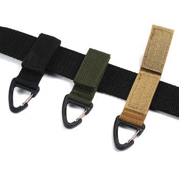 Outdoor Camping Hiking Nylon Ribbon Keychain Molle Tactical Knapsack Triangle Backpack Waist Bag Fastener Hook Buckle Climb Tool image