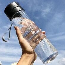 800 ml/600 ml botella de agua de plástico transparente para portátil Infusor de jugo de limón de gran capacidad para deportes