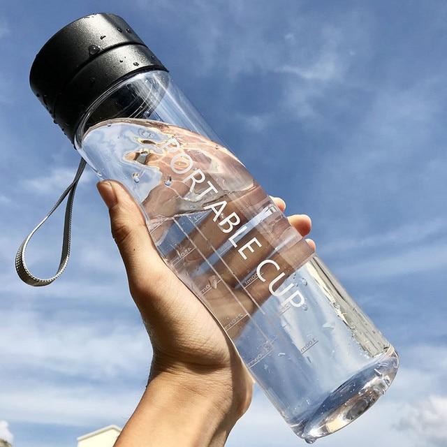800ml/600ml Large Capacity Sports Fruit Lemon Juice Drinking Bottle Infuser Clear Portable Plastic Water Bottle