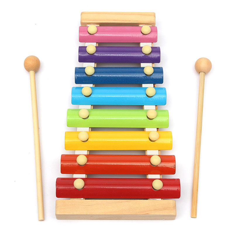 Wooden 8 Tones Multicolor Xylophone Wood Musical Instrument Toys For Baby Kids High Quality