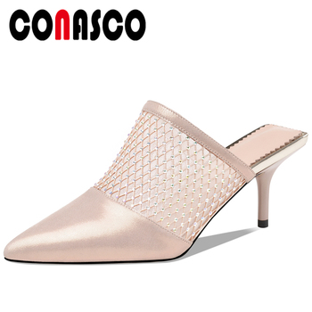 CONASCO Elegant Fashion Casual Women Sandals Genuine Leather Rhinestone Mesh Pumps High Heels Slippers Shoes Woman Mules New