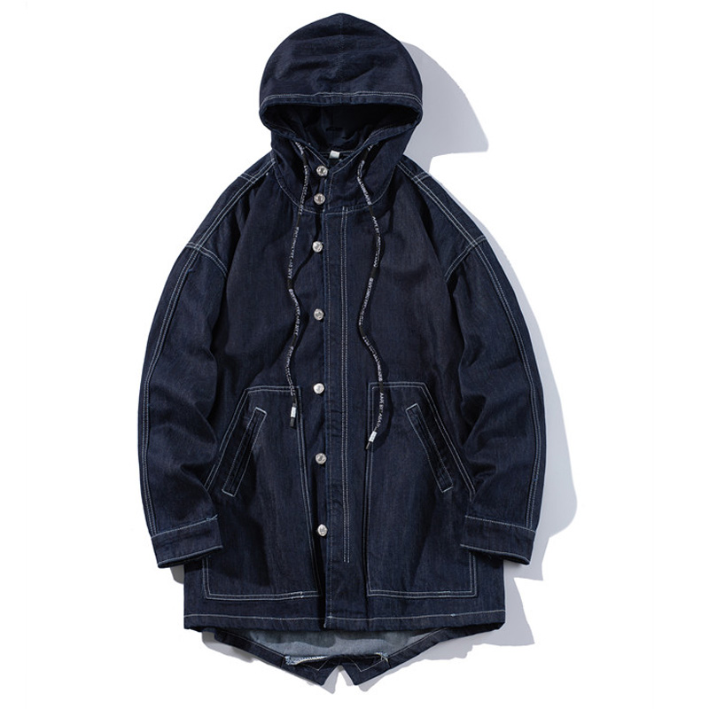 Spring and autumn new denim jacket men's fashion hooded Slim casual cotton solid color jacket large size 5XL men's clothing