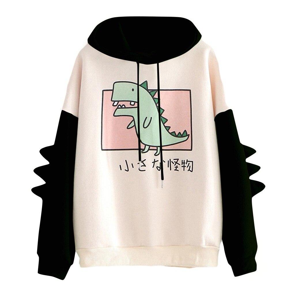 Fashion Women Sweatshirt Casual Print Long Sleeve Splice Dinosaur hoodies Sweatshirt Tops ropa mujer толстовка женская 9