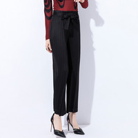 Korean version of the large size wide leg pants female 2019 summer and autumn new casual Miyake folds loose high waist casual pa