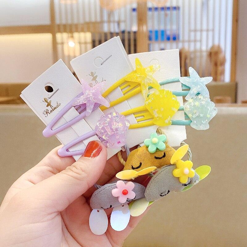 Épingles à cheveux ajourées en coquille détoile | Ensemble de 3 couleurs pour enfants, en caoutchouc, jolies bandes de cheveux pour filles, accessoires de cheveux