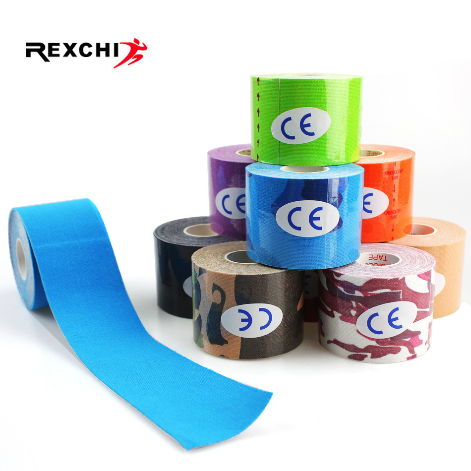 REXCHI 6 Pcs Elastic Tape Kinesiology Athletic Recovery Kneepad Sports Muscle Pain Relief Knee Pads Support Gym Fitness Bandage