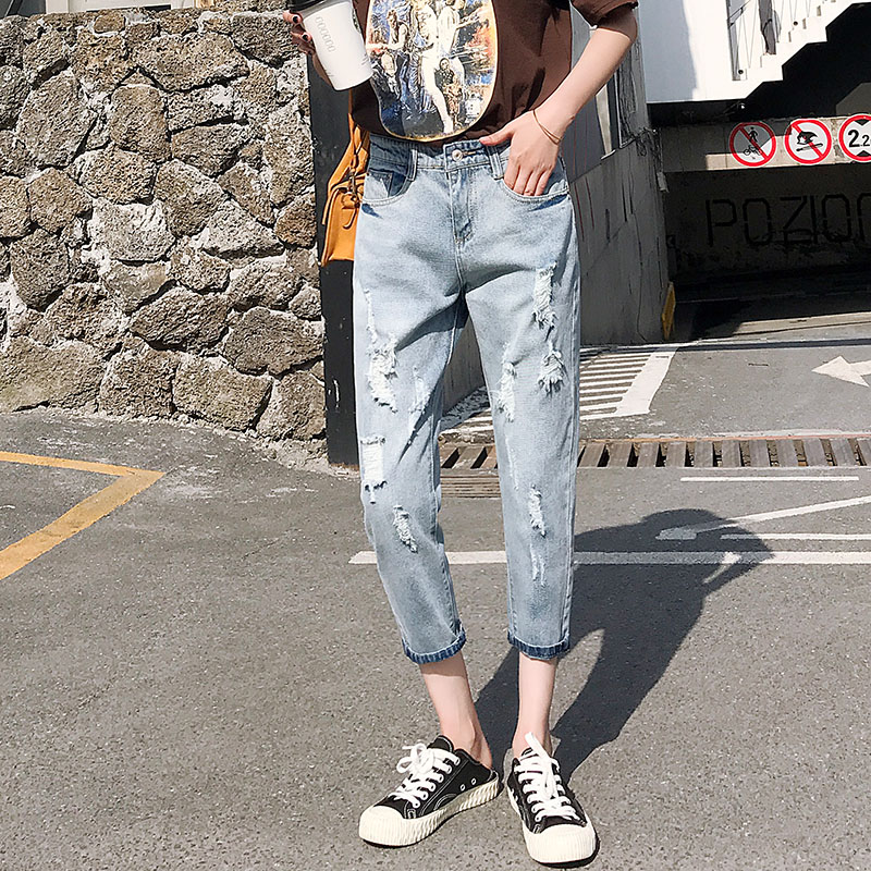 Cheap Wholesale 2019 New Spring Summer Autumn Hot Selling Women's Fashion Casual  Denim Pants FP25301