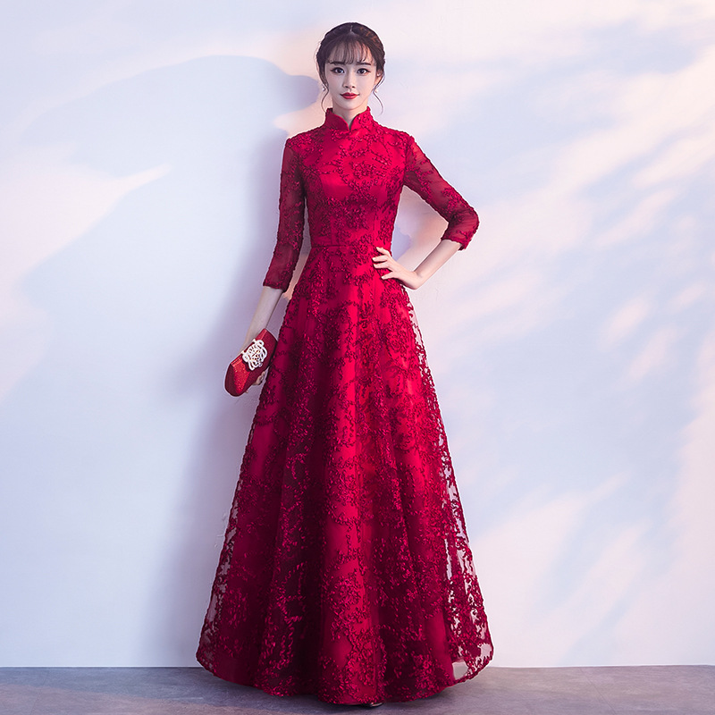 2019 New Style Dress For Toast Chinese Style Summer Bride Marriage Engagement Banquet Evening Gown Long Stand Collar Long Sleeve