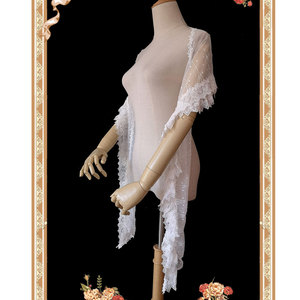 Image 4 - Uroczy biały Lolita koronkowy szal długie damskie szale od Infanta