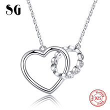 Valentine Day Gift 925 Sterling Silver Heart Connect Circle Couple Heart Pendant Necklace for Lover Silver Jewelry цены онлайн