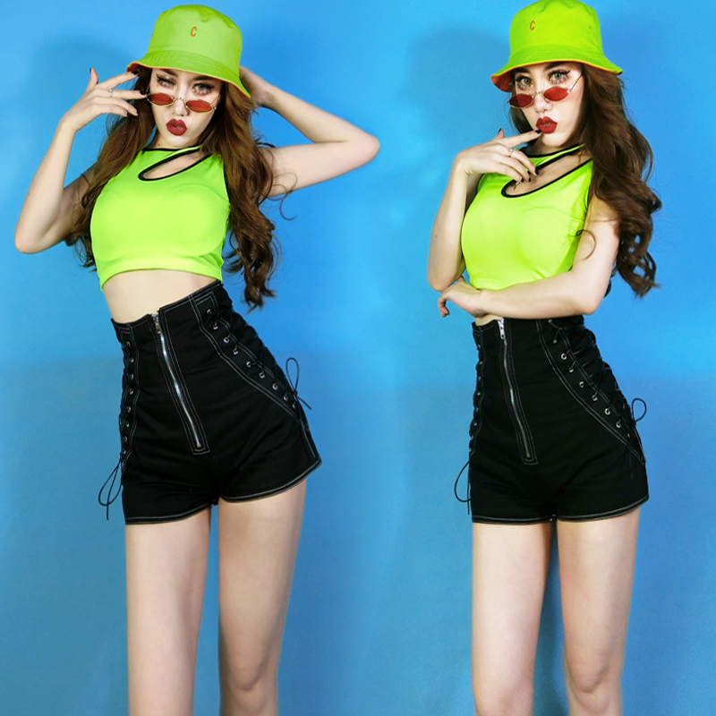 Stage Costumes For Singers Bar Female DJ Hip Hop Street Dance Costume Jazz Rave Clothes High Waist Shorts Suit Outfit DNV11992