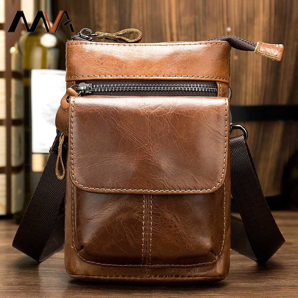Leather Small Waist Pack Full-grain Leather Men's Retro Camera Outdoor 7-Inch Wear Leather Belt Small Pockets Phone Bag
